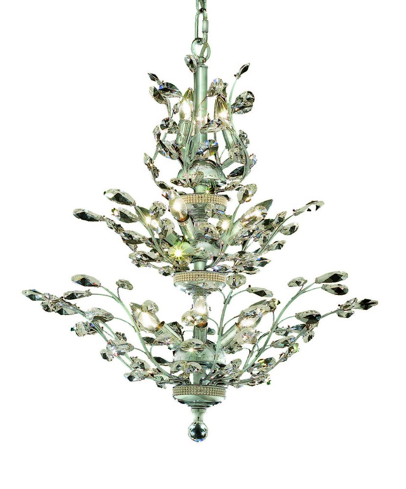 LightingOne of Cincinnati in Loveland, Ohio, United States, Elegant 76RA3, 2011 Orchid Collection Hanging Fixture D27in H27in Lt:13 Chrome Finish (Royal Cut Crystals), Orchid