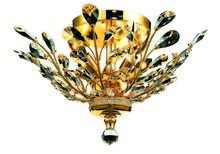 Elegant 2011F20G/RC - 2011 Orchid Collection Flush Mount D20in H10in Lt:4 Gold Finish (Royal Cut Crystals)
