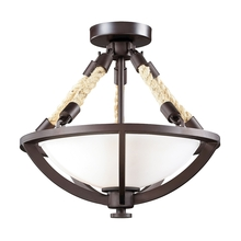 ELK Lighting 63011-2 - Natural Rope 2 Light Semi Flush In Aged Bronze