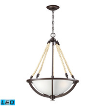 ELK Lighting 63013-3-LED - Natural Rope 3 Light LED Pendant In Aged Bronze