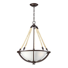 ELK Lighting 63013-3 - Natural Rope 3 Light Pendant In Aged Bronze