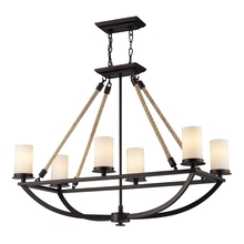 ELK Lighting 63018-6 - Natural Rope 6 Light Chandelier In Aged Bronze A