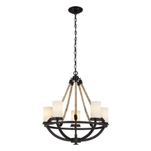 ELK Lighting 63041-5 - Natural Rope 5 Light Chandelier In Aged Bronze And White Glass