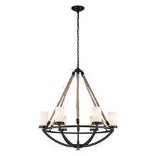 ELK Lighting 63042-6 - Natural Rope 6 Light Chandelier In Aged Bronze And White Glass