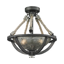 ELK Lighting 63052-2 - Natural Rope 2 Light Pendant In Silvered Graphit