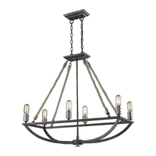ELK Lighting 63055-6 - Natural Rope 6 Light Chandelier In Silvered Graphite With Polished Nickel Accents