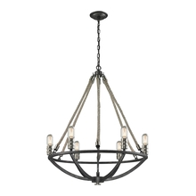 ELK Lighting 63057-6 - Natural Rope 6 Light Chandelier In Silvered Graphite With Polished Nickel Accents